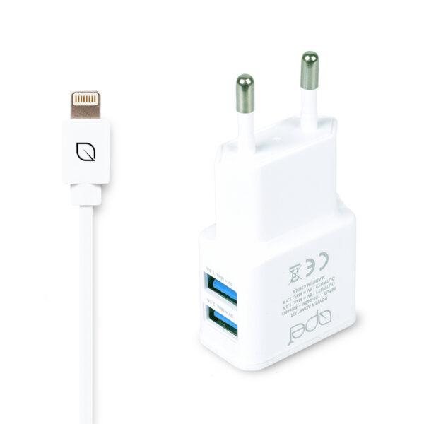 Apei Fast Charge 2x USB adapter + 1x Lightning kabel – nabíječka