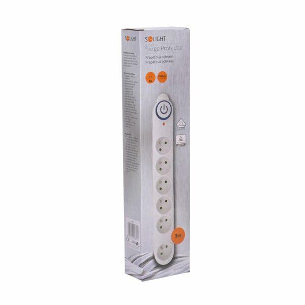 Solight přepěťová ochrana, 150J, 6 zásuvek, 3m, bílá